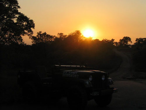 Aaron's jeep in the southeast asian sunset.